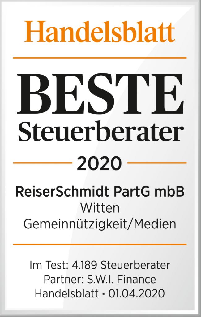 ReiserSchmidt Steuerberater, Wirtschaftsprüfer, Datenschutz externer Datenschutzbeauftragter Witten – Zertifikat Beste Steuerberater 2020 Handelsblatt